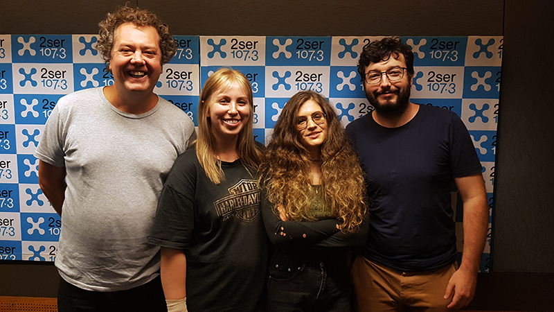 Directors Vittoria & Clover at 2SER with festival Director Samuel Bright